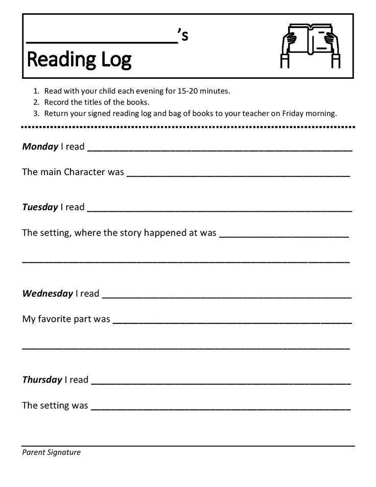 Elementary school weekly reading book log editable