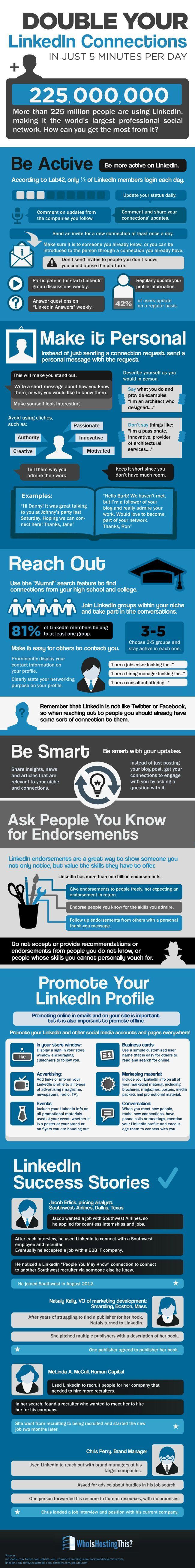 10 Simple Tips to Double your LinkedIn Connections / 10 einfache Tipps mit denen Ihr mehr Follower und Interaktion schaffen könnt.