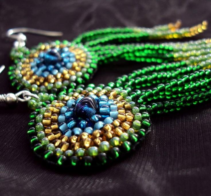peacock inspired earrings, beadweaving
