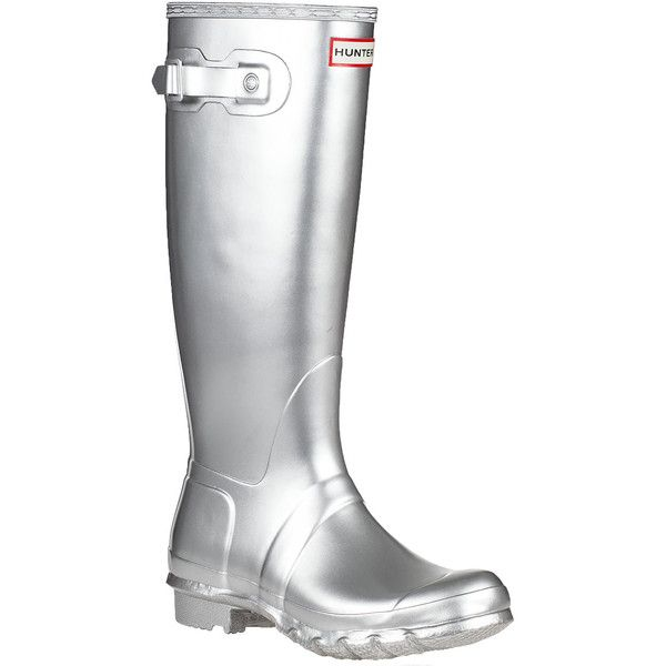 HUNTER Original Wellington Rain Boot Silver ($150) ❤ liked on Polyvore featuring shoes, boots, silver, rain boots, sport shoes, rubber boots, hunter shoes en silver rain boots