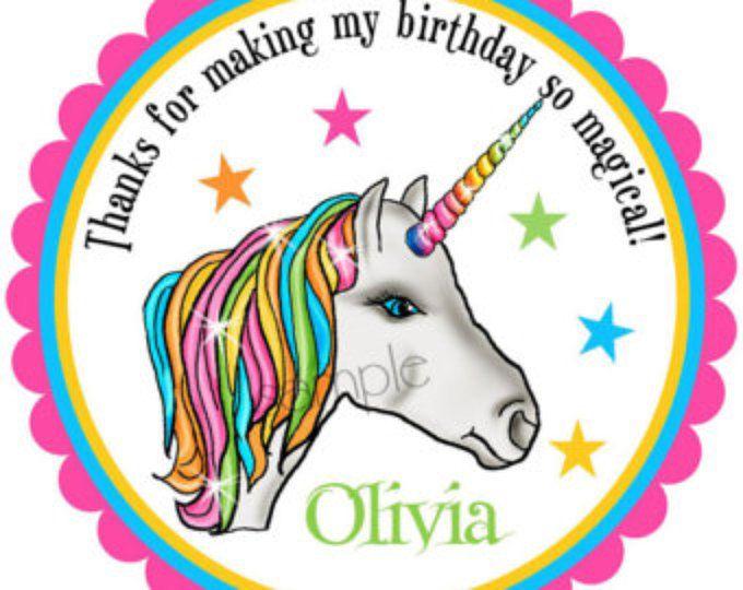Etiquetas engomadas de unicornio unicornio la fiesta de