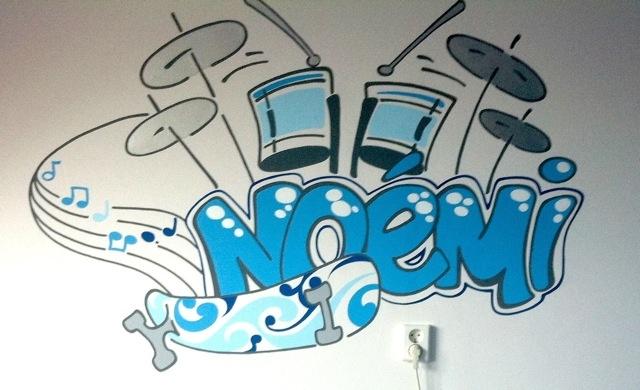Muurschildering met naam Je ziet direct waar ze van houdt... Graffiti ...