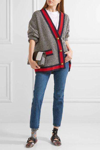 Miu Miu - Lace-up Leather-trimmed Tartan Tweed Ballet Flats - Red