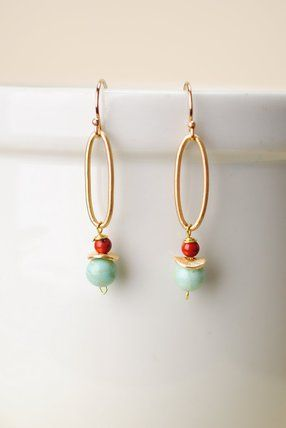 Sien001 Unique Handmade Gemstone Jasper And Turquoise Dangle Hoop Earrings For Women