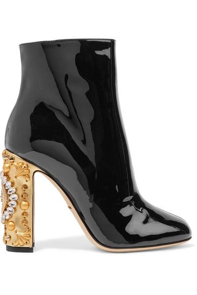 Heel measures approximately 105mm/ 4 inches Black patent-leather, gold leather Zip fastening along side Come with dust bag Made in Italy