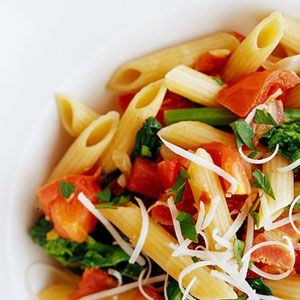 ... warm vegetable-pasta combo with a wine sauce for a low-fat side dish