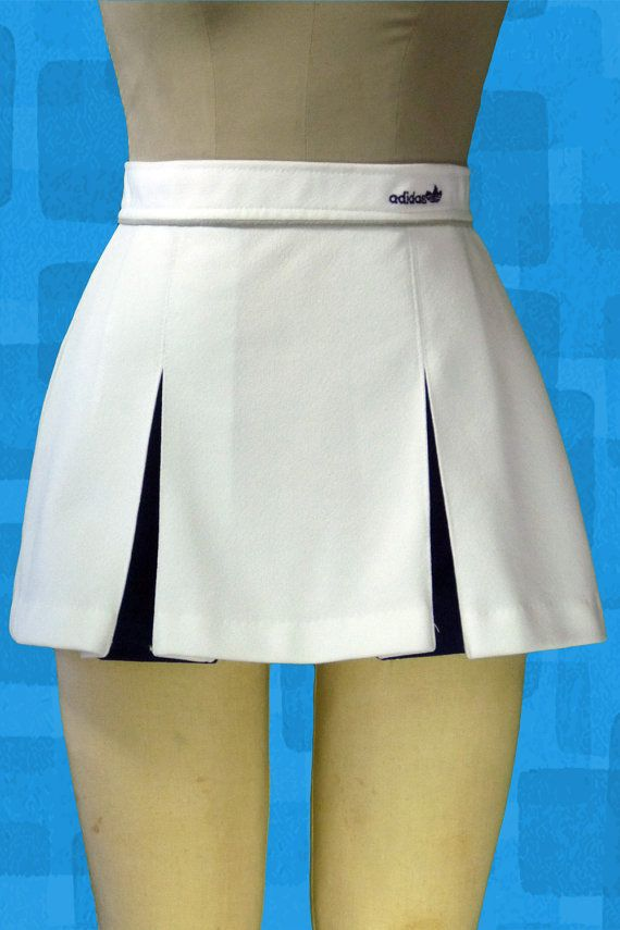 Vintage adidas tennis skirt white mini Jupe