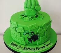 The Incredible Hulk superhero birthday cake