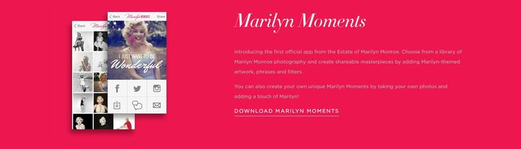The #MarilynMoments #MobileApp for #iPhone! Get your #dailydose of the #glamourous #stargirl, & #create #masterpieces of your own... #socialshare & exchange them w/ #friends! #Download: www.itunes.apple.com/us www.marilynmonroe.com/app/marilyn-moments/id881686678?mt=8 #Actress #Apps #Art #BlondeBeauties #BlondeBombshell #Cannes #Fashion #Hollywood #MobileApps #Model #MovieStar #NormaJeaneMortenson #Photography #Smartphones #Style #Technology #Typography #VanityFair www.marilynmonroe.com