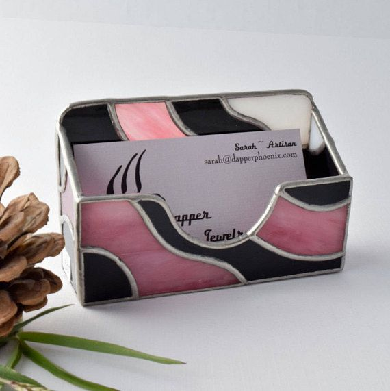 Stained glass card holder business card holder pink black