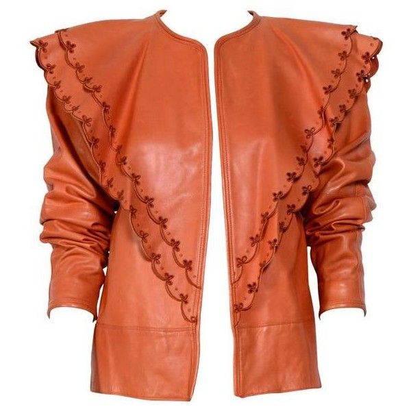 Preowned Gianni Versace 1982 Collection Documented Lambskin Leather... (11,610 EGP) ❤ liked on Polyvore featuring men's fashion, men's clothing, men's outerwear, men's jackets, jackets, orange, mens lambskin jacket, mens lamb leather jacket, versace mens jacket and men's lambskin leather jacket