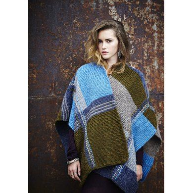 Geometric Weave Poncho in Rowan Brushed Fleece