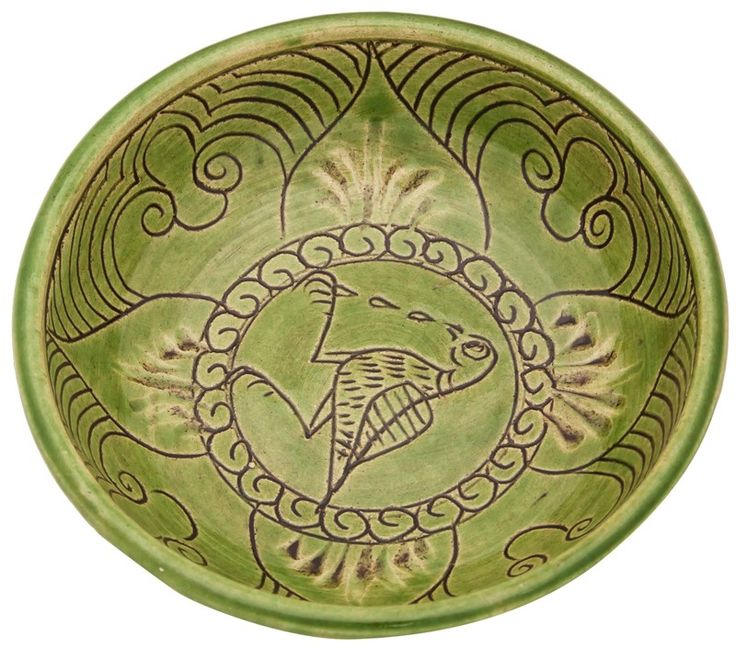 Byzantine Ceramic Bowl with Weeping Bird from Adil Can. www.arkofcrafts.com