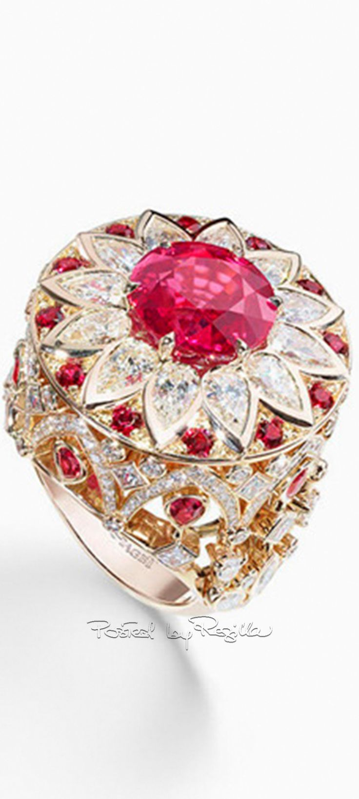 White gold diamond ring piaget luxury jewellery g34ut300 - Ring In Pink Gold Set With 1 Round Cut Red Spinel Approx
