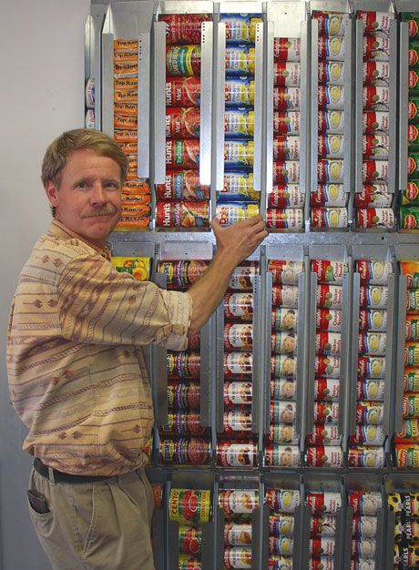 "Vertical storage for canned goods - I still love my Harvest 72"" shelf but this is a good and cheaper alternative to rotating your canned goods - first in first out."