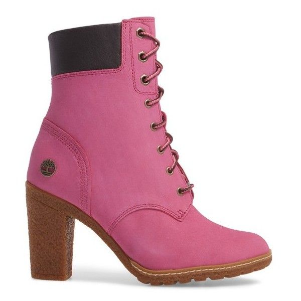 Women's Timberland X Susan G. Kommen Glancy Boot ($130) ❤ liked on Polyvore featuring shoes, boots, ortholite shoes, bright pink shoes, fitted boots, crepes shoes and timberland footwear