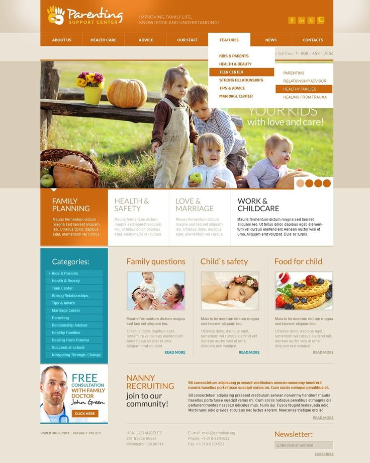 Parenting Family Website Templates by Glenn