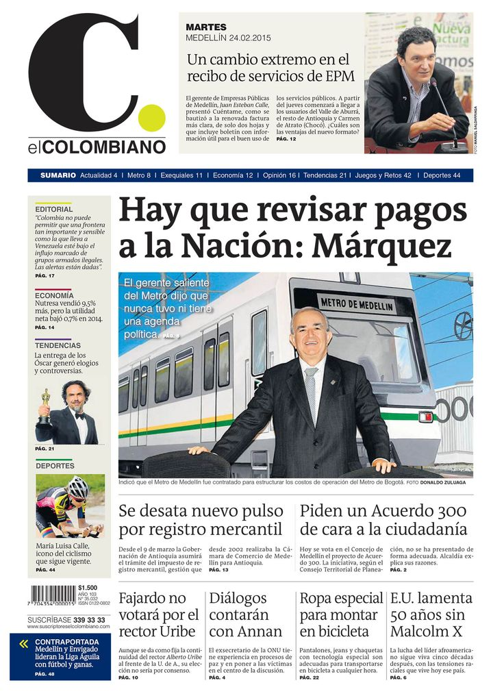 Portada de El Colombiano para el martes 24 de febrero de 2015