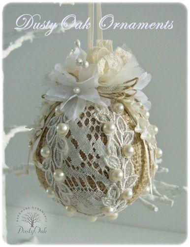 Burlap, lace and pearls wedding keepsake Christmas tree ornament: