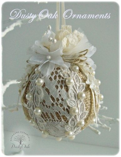 Burlap, lace and pearls wedding keepsake Christmas tree ornament: