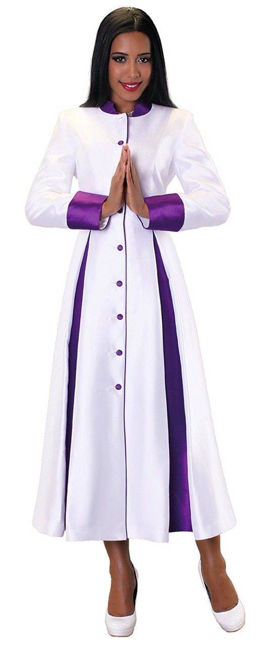 8d2d616a20e Ladies 1-Piece Preaching Robe Dress In White   Purple - Divinity Clergy Wear
