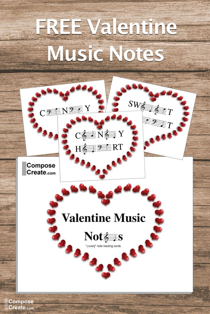 FREE Valentine Music Notes. Use them as a game, studio decor, valentines for piano students, and more. #piano #teaching