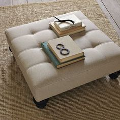 Essex Upholstered Ottoman. It will look great with the new couch if I get it in Lagoon velvet #WilliamsSonoma
