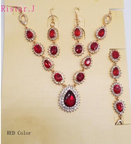 Green Red Blue Rhinestone Jewelry Sets  Wedding Drop Crystal Glass Necklace  Fashion Bridal Bracelet Earrings Party Accessories
