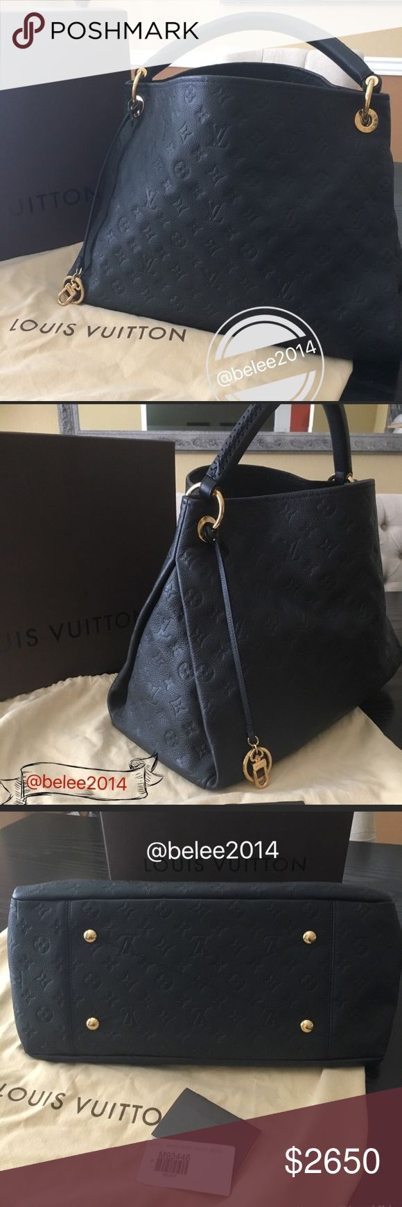 Louis Vuitton Artsy Empreinte mm Authentic. Louis Vuitton Artsy Empreinte mm in dark navy blue. Very good condition. Clean inside and out. Minor scuffs on corners. Comes with original Louis Vuitton box and Dust bag.      ****** Bundle discount does not apply  ****** NO TRADE 🔥 Louis Vuitton Bags Totes