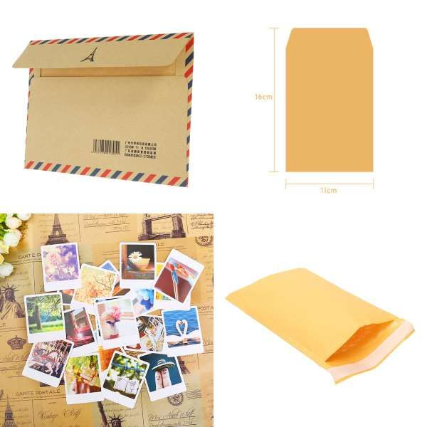 50pcs Set Vintage Love Small Brown Pink Kraft Blank Mini Paper