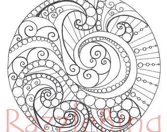 Vintage Patterns Coloring Pages. Printable Coloring Page Zentangle inspired  Dizzy Mandala Zendoodle Doodle PDF Instant 79 best ADULT COLORING PAGES images on Pinterest books