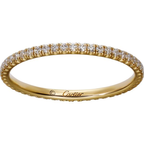 Étincelle de Cartier wedding band Yellow gold, diamonds ($1,760) ❤ liked on Polyvore featuring jewelry, rings, diamond band wedding ring, gold midi rings, diamond rings, wide band wedding rings and wide-band diamond rings