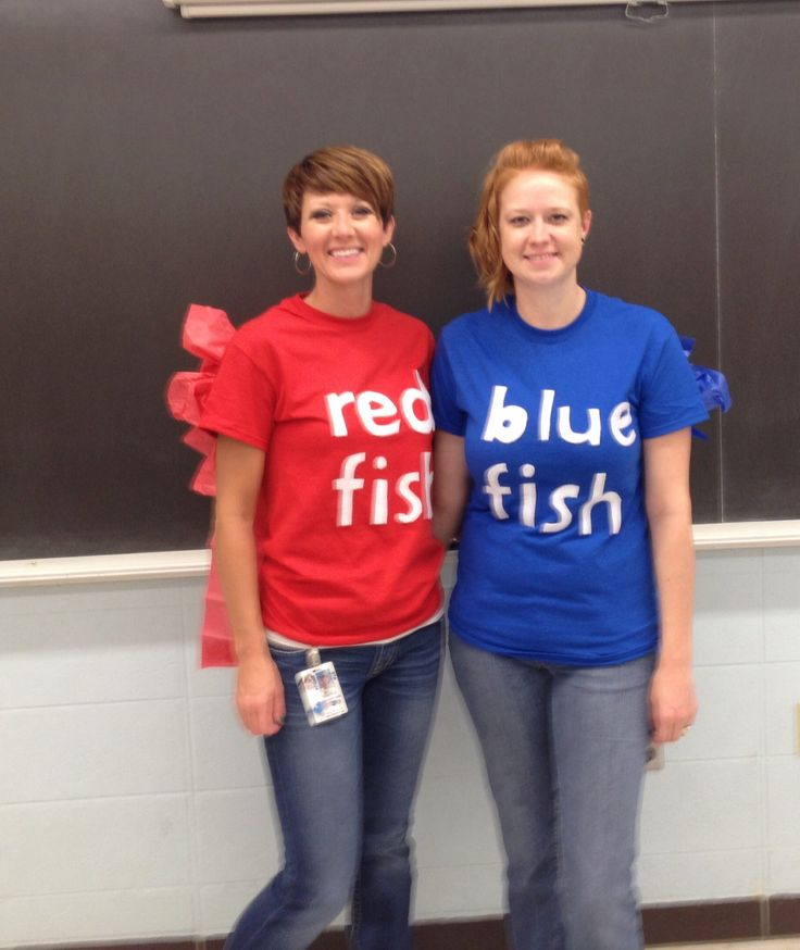 Red fish and blue fish costumes for favorite book character day. Cheap and easy homemade costumes for teachers. Would be great for Dr. Seuss week also. #onefishtwofish