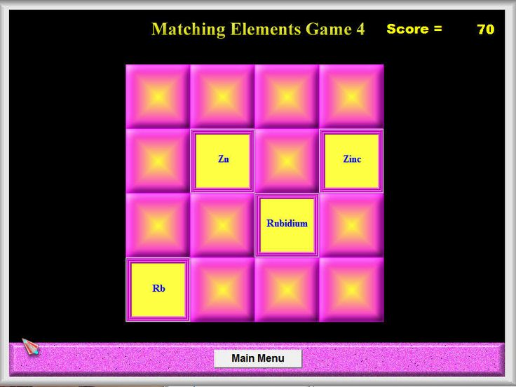 NAME THAT ELEMENT GAME In the Name That Element Game, students play three games designed to help them learn the 51 most common element names and symbols. In the falling elements game, they must shoot the correct symbol that matches the given name. In the matching elements game, they must match the symbols to the correct name. And in the identify the elements game, they must match up a list of element names with a list of interesting and unusual information about those elements.