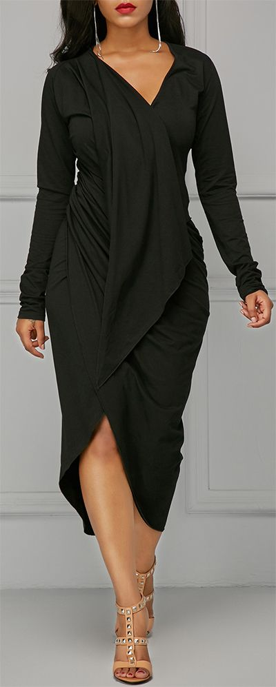 Black Asymmetric Hem V Neck Draped Dress.