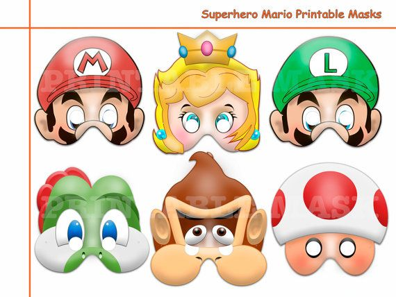 Unique Hero Mario Printable Masks Costume Birthday Photo Props