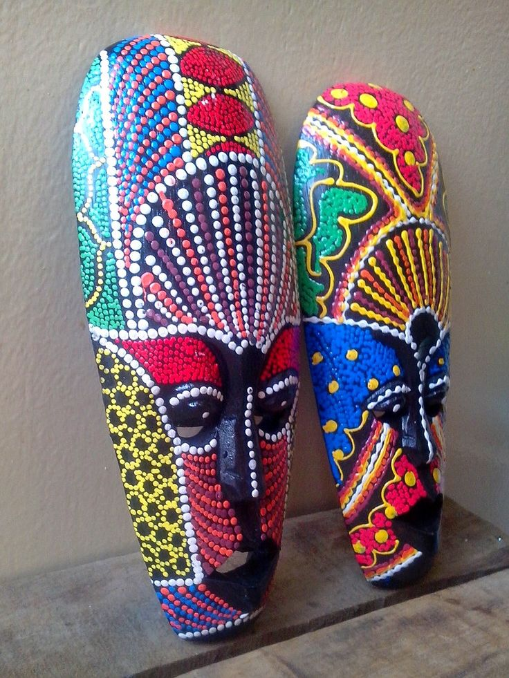 2 PCS. Wooden African Tribal Tiki Mask Hand Carved&Painted Wood Wall Decor M005 by AbourShop on Etsy