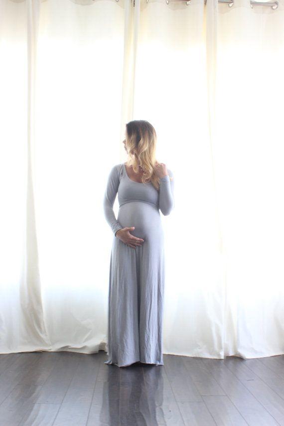 EmbieBaby Scoop neck long sleeve Maternity Dress by EmbieBaby