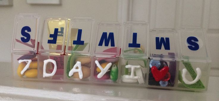 DIY boyfriend gift the 7 Day I love you – going away on a week long trip/vacation? Buy a pill organizer and write a note in everyday for him to open