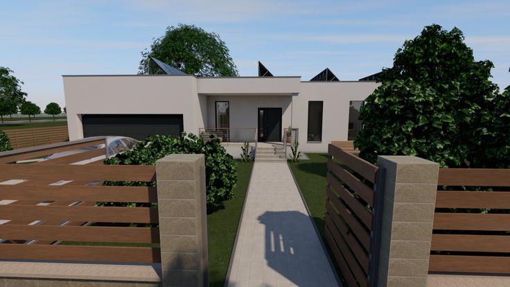 Modern, 5 szobás, 229 m2-es földszintes családi ház mintaterve, alaprajzzal Ez a látvány fogadja az utcáról bejövőket.
