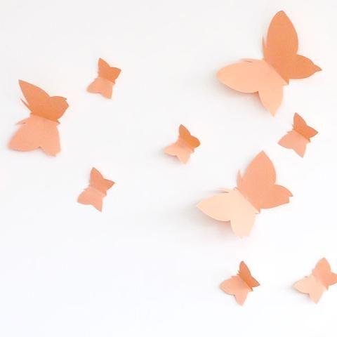 Butterfly Wall Decor - Intensive Salmon