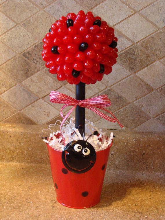 Lady Bug Candy Jelly Bean Topiary Centerpiece by CreativeGoodz, $26.00