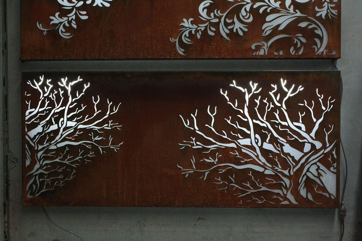 Corten Steel Lightbox with Cut-Out Forest Design --- by PLR Design, Melbourne