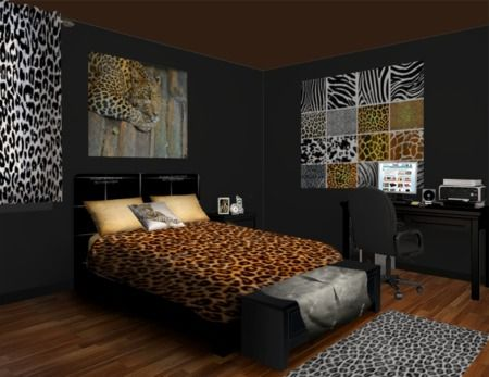 25 best cheetah print bedrooms images on pinterest animal prints upstairs bedroom i like the dark walls with the animal print vf voltagebd Images