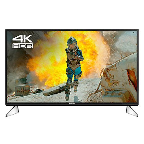 """Buy Panasonic 40EX600B LED HDR 4K Ultra HD Smart TV, 40"""" with Freeview Play & Switch Design Adjustable Stand, Black & Silver, Ultra HD Certified Online at johnlewis.com"""