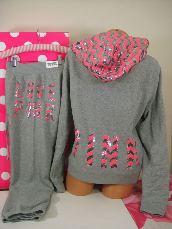 Victoria's Secret L/M set ~Pink~ Zigzag Silver Bling Hoodie & Signature Fit pant