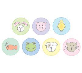 מדבקות קיר לחדרי ילדים-עיגולי חיות