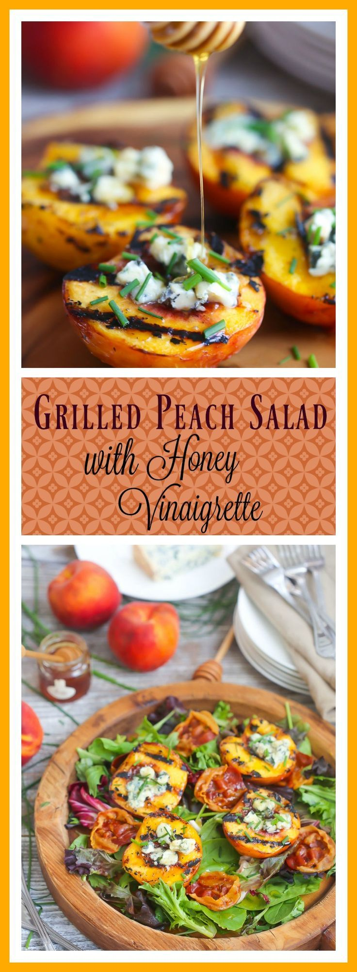 This sweet and salty salad celebrates the last days of summer with grilled peaches and creamy blue cheese drizzled with tangy honey vinaigrette.
