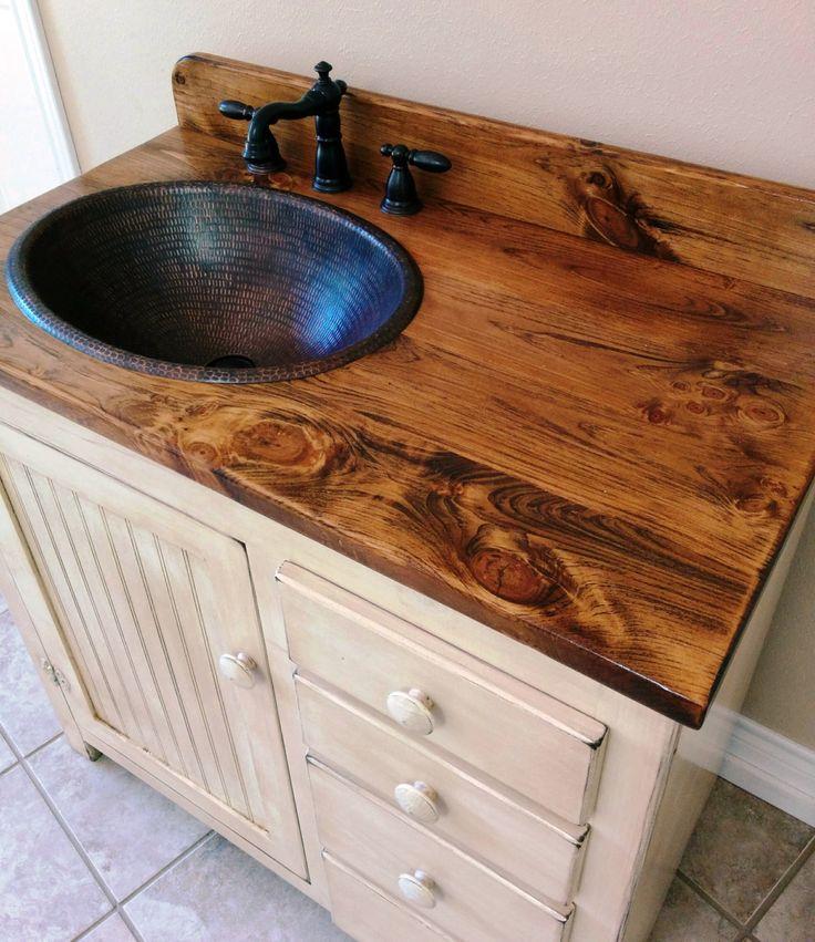 Rustic Bathroom Vanity...Copper Sink.... Bronze Pump