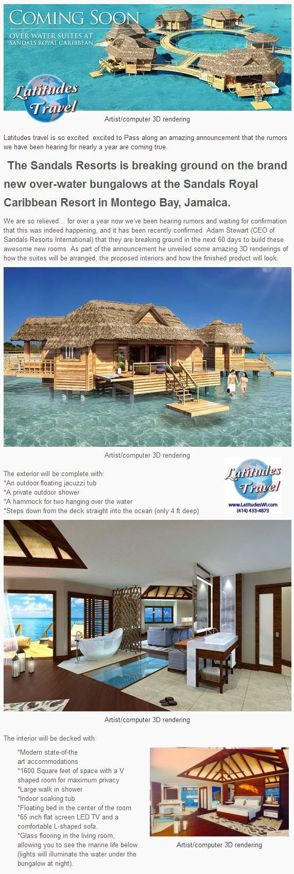 The Sandals Resorts is breaking ground on the brand new over-water bungalows at the Sandals Royal Caribbean Resort in Montego Bay, Jamaica.   More photos at: http://www.latitudeswi.com/caribbeans-first-water-bungalows/05/23/2014/